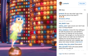Movie vlogger/blogger, Jonathan Carlin, posted a picture to his Instagram with a clear shot of the Pizza Planet truck in this year's 'Inside Out.""