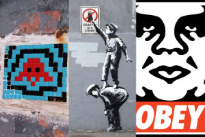 Famous street art by Invader, Banksy, and Shepard Fairey, respectively.