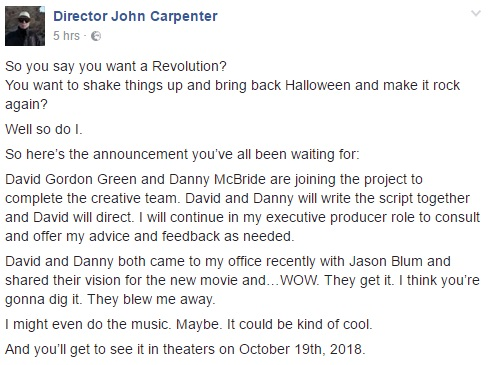 John Carpenter on new Halloween movie